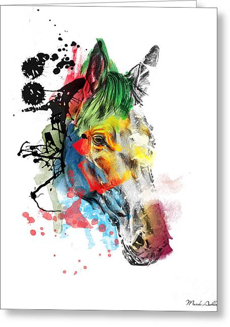 Horse On Abstract  2 Greeting Card