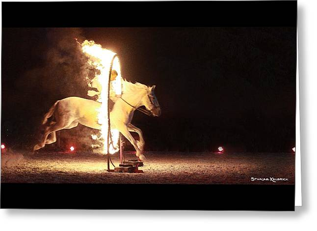 Greeting Card featuring the photograph Horse On Fire by Stwayne Keubrick