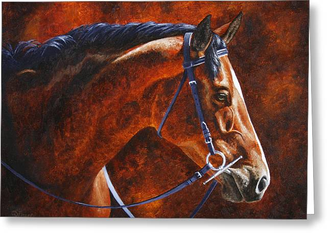 Horse Painting - Ziggy Greeting Card by Crista Forest