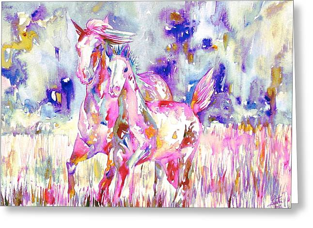 Horse Painting.16 Greeting Card by Fabrizio Cassetta