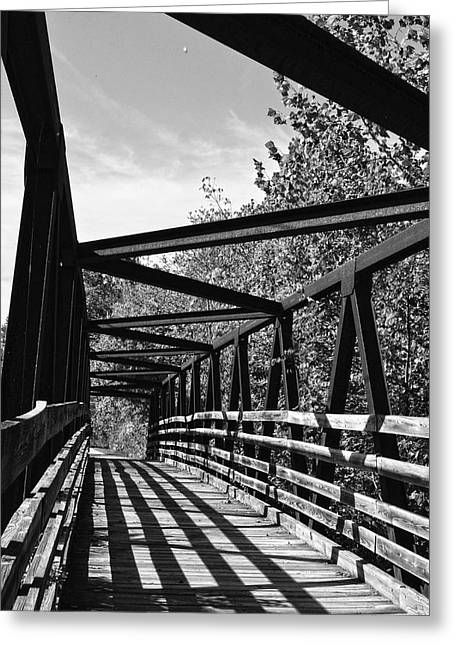 Horse Pen Creek Bridge Black And White Greeting Card by Sandi OReilly