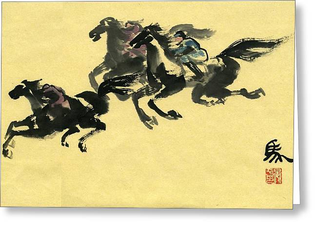 Greeting Card featuring the painting Horse  by Ping Yan