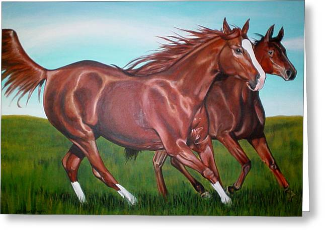 Horse Play Greeting Card by Michael Snyder