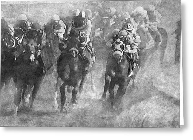 Horse Race Greeting Card by Angie Vogel