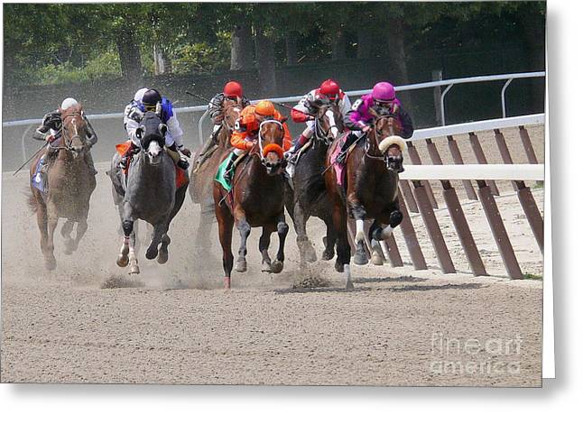 Horse Race - Around The Bend - Digital Art Greeting Card by Anthony Morretta