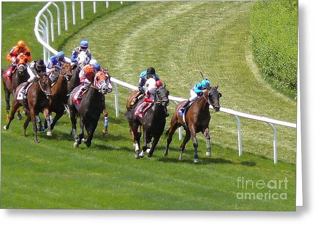 Horse Race At Belmont - Digital Image Greeting Card