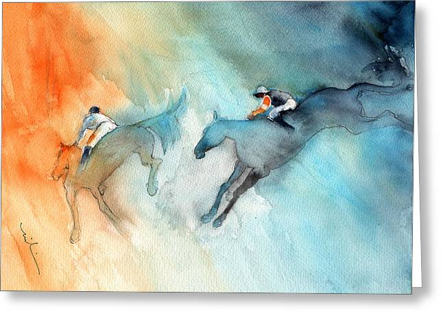 Horse Racing 02 Greeting Card by Miki De Goodaboom