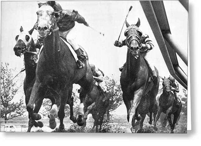 Horse Racing At Aqueduct Track Greeting Card by Underwood Archives