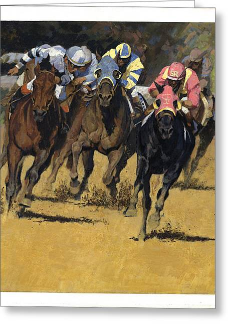 Horse Racing Playfellow Greeting Card by Don  Langeneckert