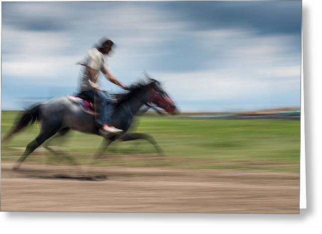 Horse Racing Greeting Card by Okan YILMAZ