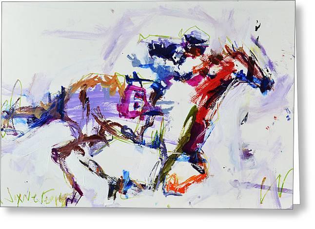Horse Racing Print Greeting Card