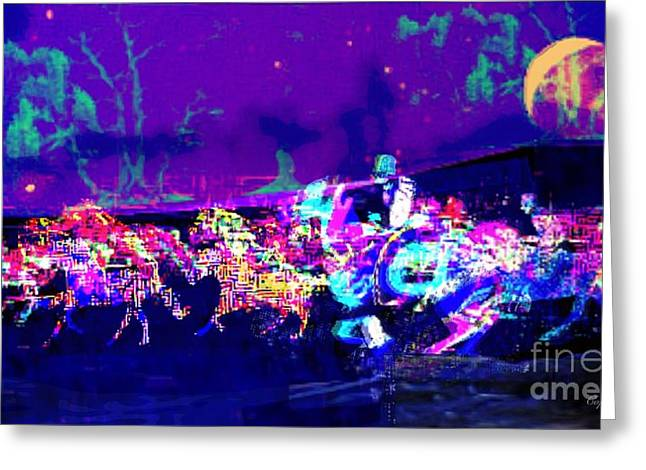 The Horse Raiders Digital Abstract Greeting Card