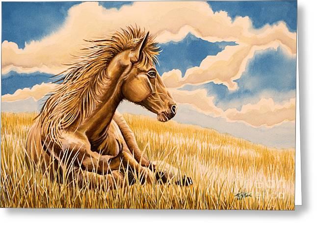 Horse Resting Greeting Card by Tish Wynne