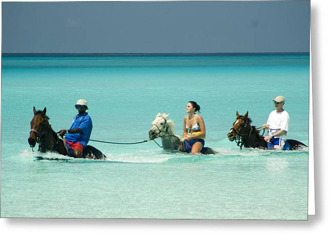 Horse Riders In The Surf Greeting Card