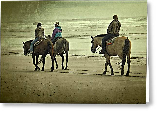 Greeting Card featuring the photograph Horseback Riding On The Beach by Thom Zehrfeld