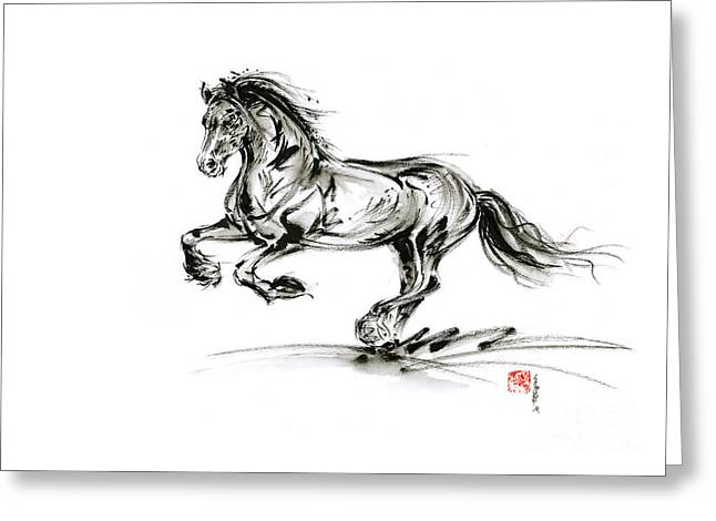 Horse Stallion Black Wild Animal 2014 Year Ink Painting Greeting Card by Mariusz Szmerdt
