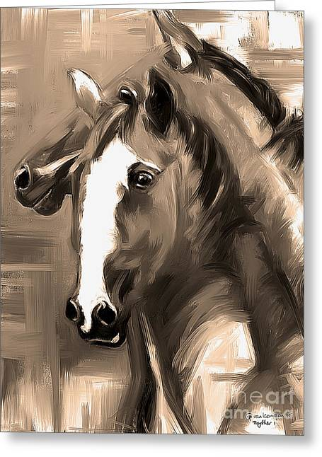 Greeting Card featuring the painting Horse Together 1 Sepia by Go Van Kampen
