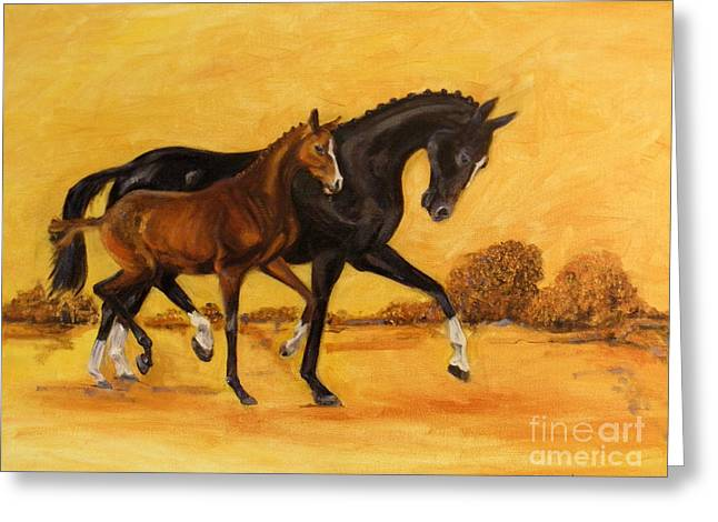 Greeting Card featuring the painting Horse - Together 2 by Go Van Kampen