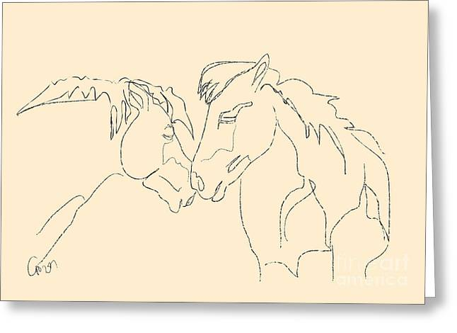 Greeting Card featuring the painting Horse - Together 3 by Go Van Kampen