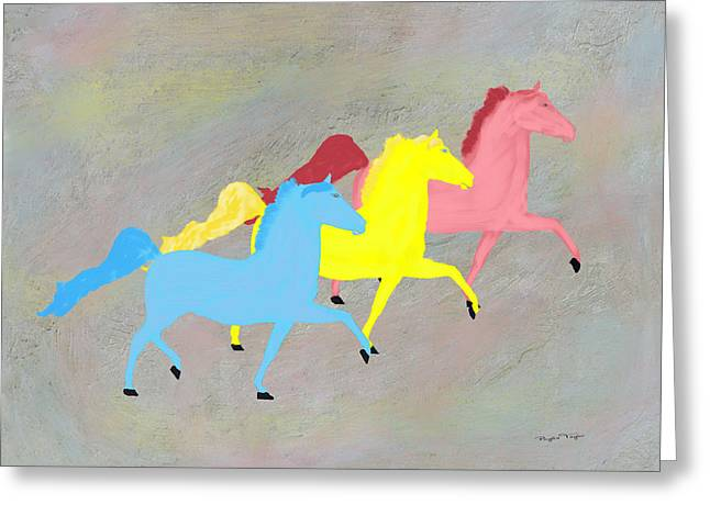 Painted Horse Trio Greeting Card