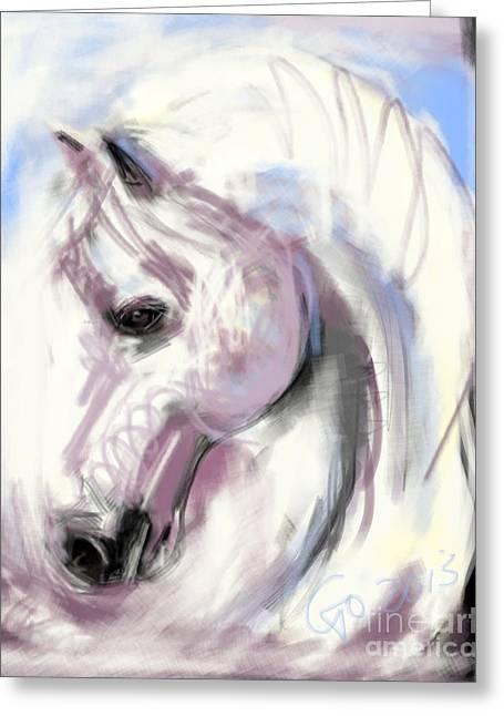 Horse White Angel Greeting Card