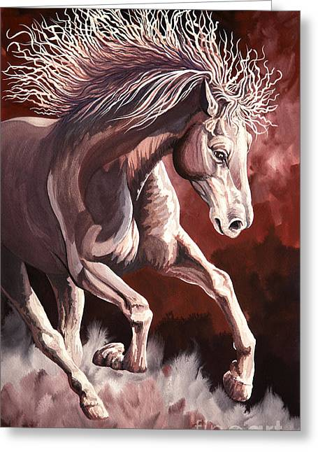 Horse Wild Fire Greeting Card