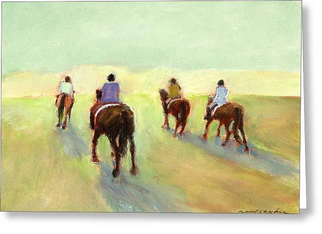 Horseback Riders Greeting Card by J Reifsnyder