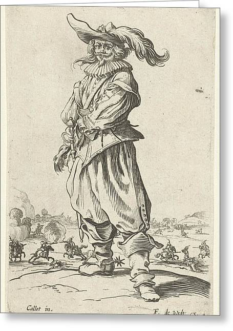 Horseman With Plumed Hat, Seen From The Front Greeting Card by Jacques Callot And Print Maker: Anonymous And Frederik De Wit