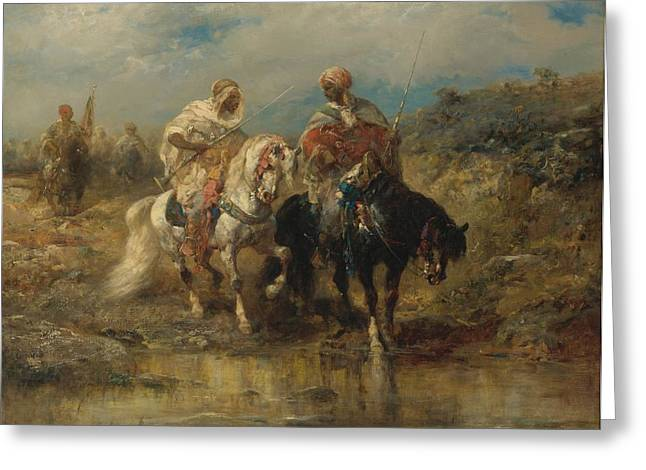 Horsemen At A Watering Hole Greeting Card by Celestial Images