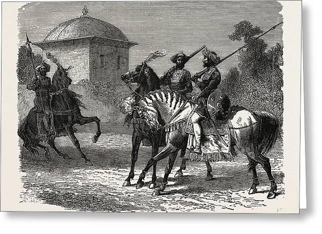 Horsemen Of The Bodyguard Of The Gaikwar Of Baroda Greeting Card
