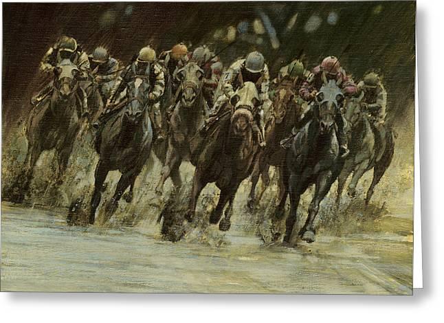 Horseracing In Rain Greeting Card by Don  Langeneckert