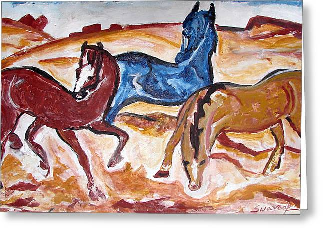 Greeting Card featuring the painting Horses 3 by Anand Swaroop Manchiraju