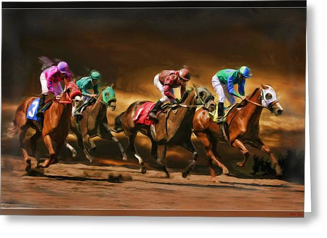 Horses 4 At Finish Greeting Card by Blake Richards