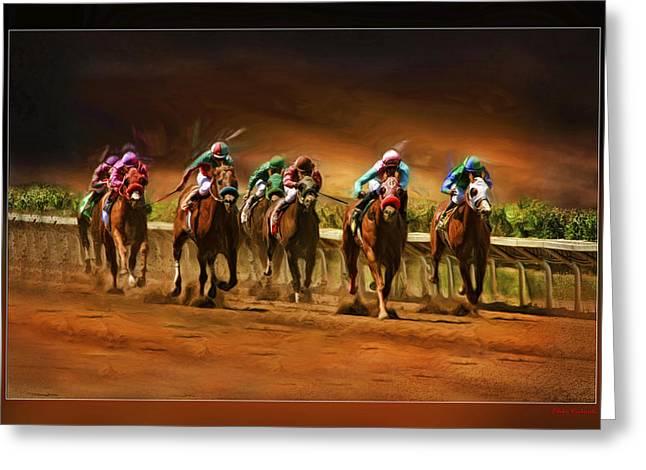 Blake Richards Greeting Cards - Horses 7 At The End Greeting Card by Blake Richards