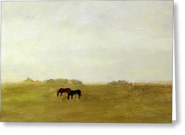 Horses Afield Greeting Card