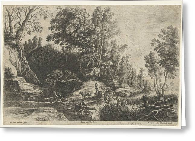 Horses And Cows At A Watering, Lucas Van Uden Greeting Card