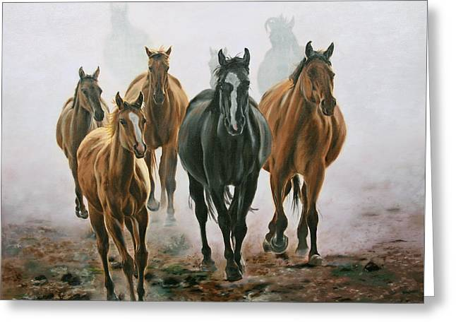 Horses And Dust Greeting Card