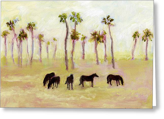 Horses And Palm Trees Greeting Card