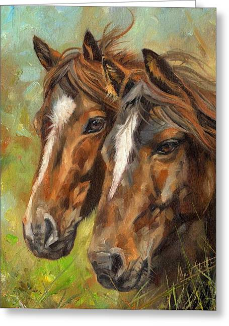 Horses Greeting Card by David Stribbling