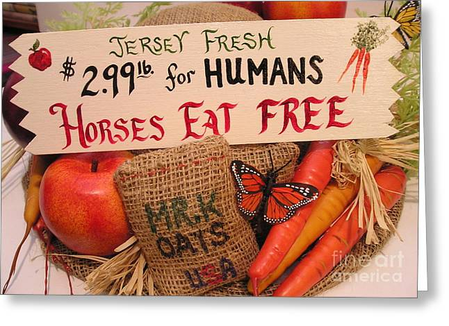 Horses Eat Free Greeting Card by Catherine Howley