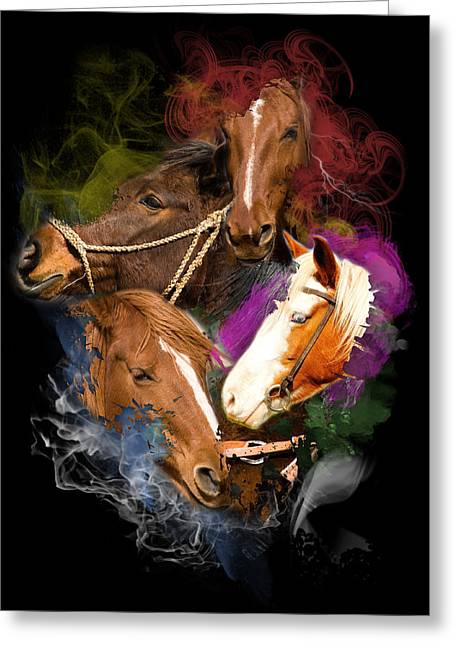 Greeting Card featuring the digital art Horses Gone Wild by Davina Washington