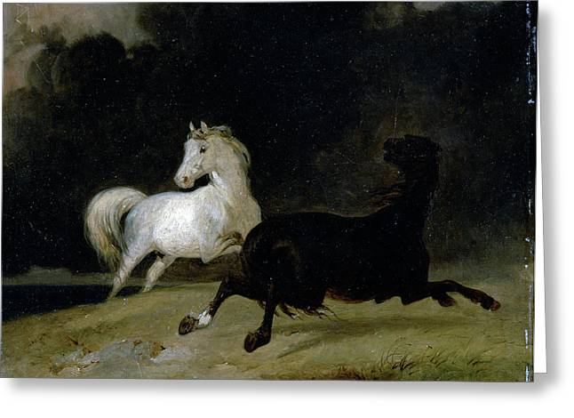 Horses In A Thunderstorm, Thomas Woodward Greeting Card by Litz Collection