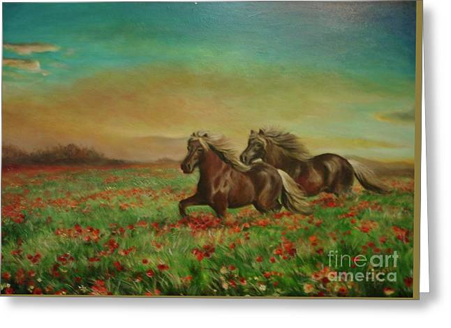 Greeting Card featuring the painting Horses In The Field With Poppies by Sorin Apostolescu