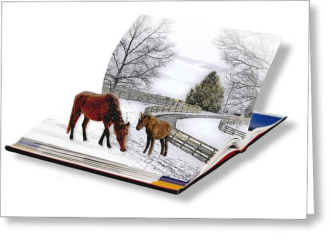Horses In The Snow Greeting Card by Trudy Wilkerson