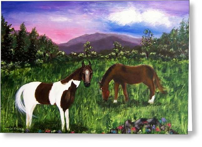 Greeting Card featuring the painting Horses by Jamie Frier