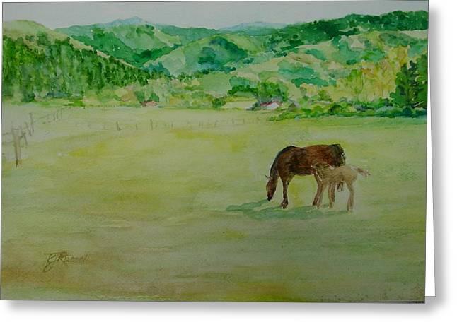 Horses Mare Foal Pastures Rural Landscape Original Art Oregon Western Artist K. Joann Russell Greeting Card