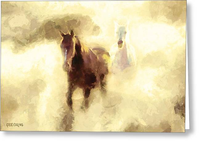 Horses Of The Mist Greeting Card