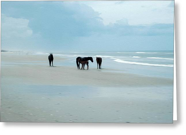 Greeting Card featuring the digital art Horses Of The Obx by Kelvin Booker