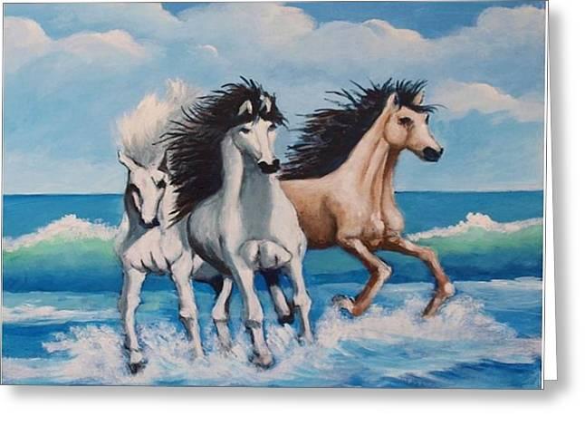 Horses On A Beach Greeting Card