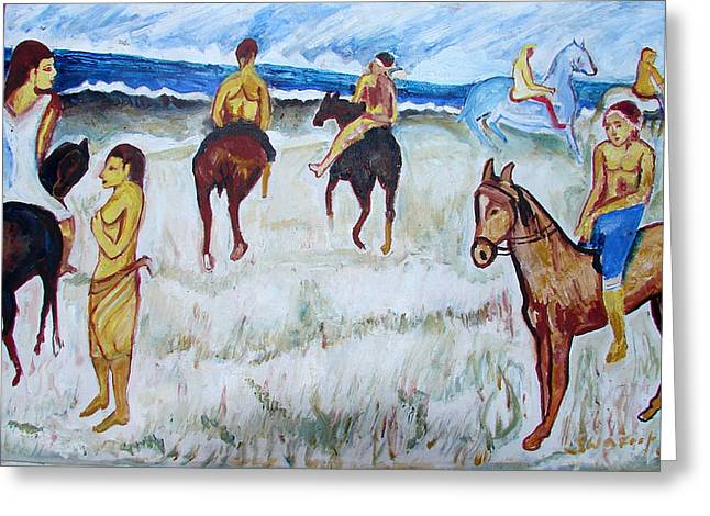 Greeting Card featuring the painting Horses On Beach by Anand Swaroop Manchiraju